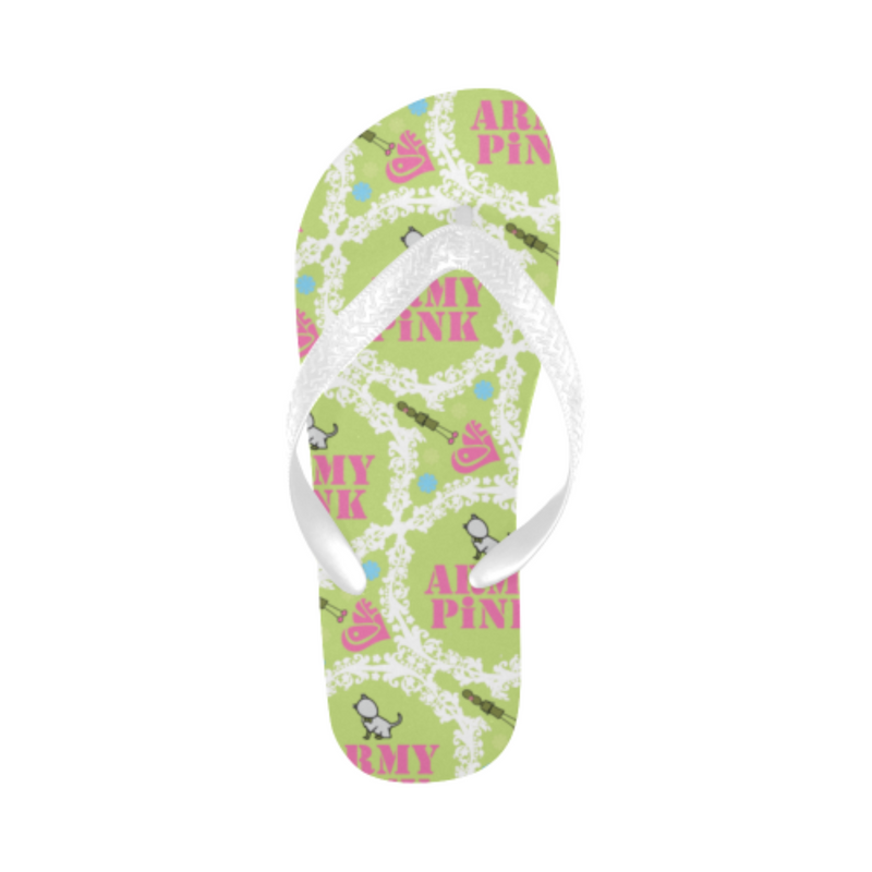 White wreath green Flip Flops for 16.00 at ARMY PINK