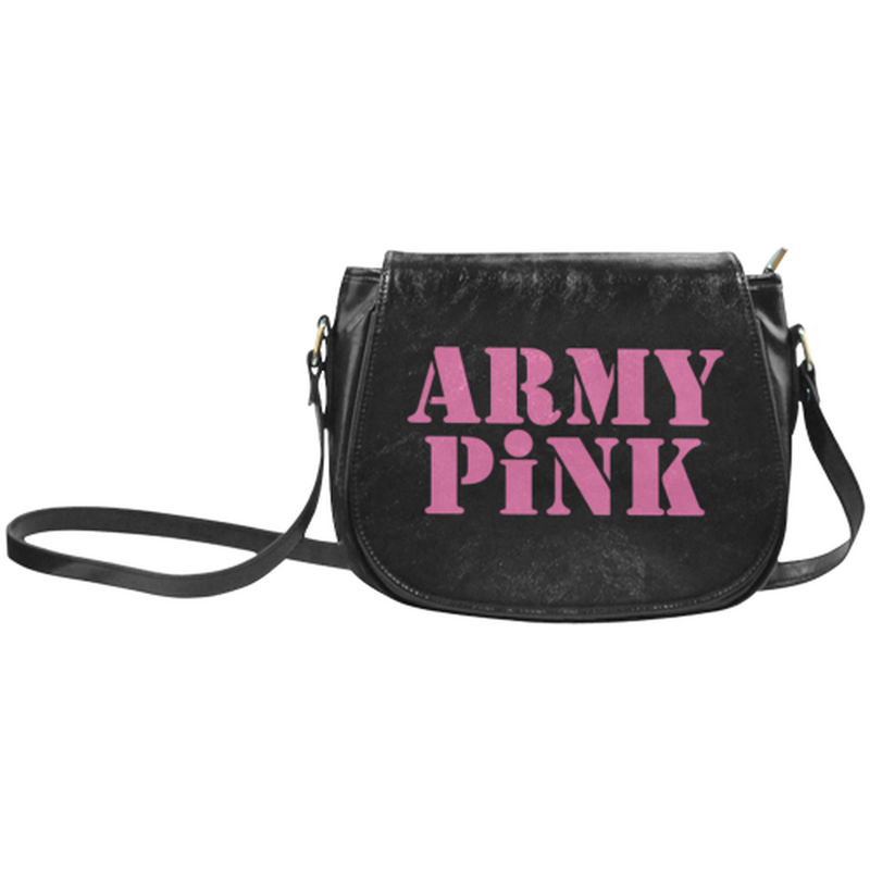 Pink Army Pink on Black Small Classic Saddle Bag for  at ARMY PINK