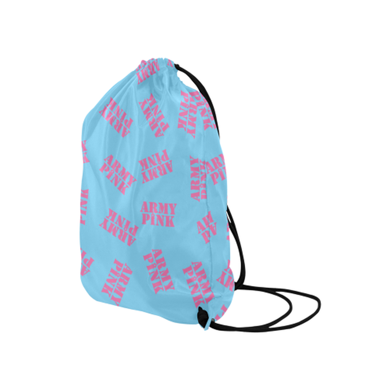 "Pink stamps on blue Medium Drawstring Bag Model 1604 (Twin Sides) 13.8""(W) * 18.1""(H) ${product-type) ${shop-name)"
