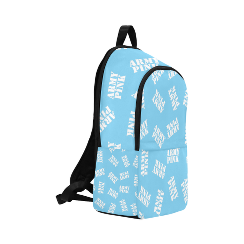 White stamps on blue Fabric Backpack for  at ARMY PINK