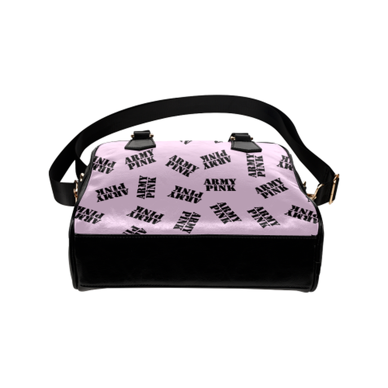 Black stamps on violet Shoulder Handbag for  at ARMY PINK
