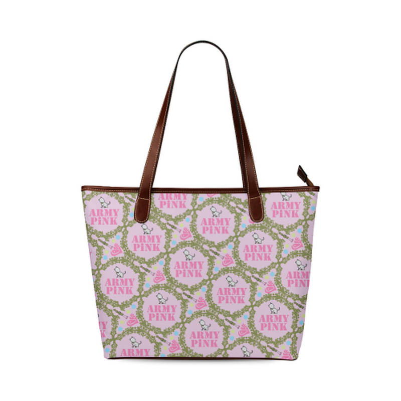 Green wreath on violet Shoulder Tote Bag (Model 1646) ${product-type) ${shop-name)
