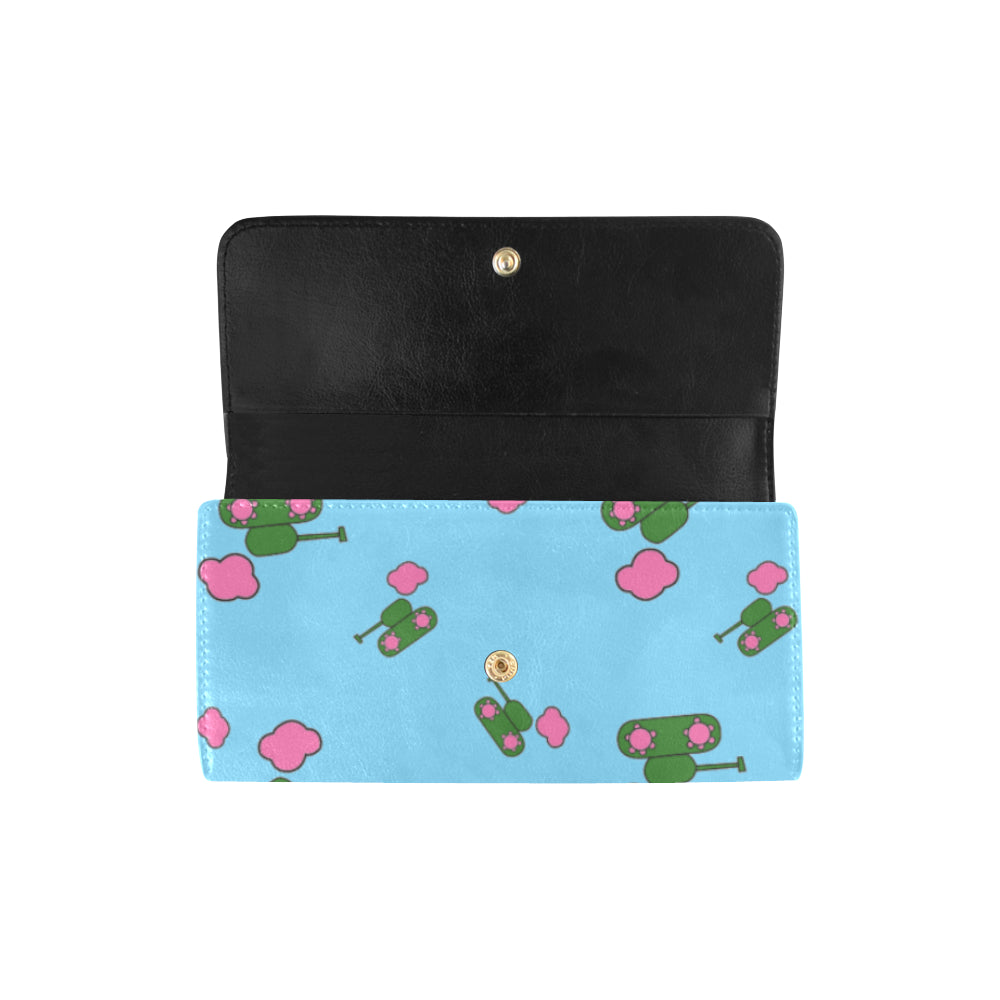 Tanks and clouds blue Trifold Wallet