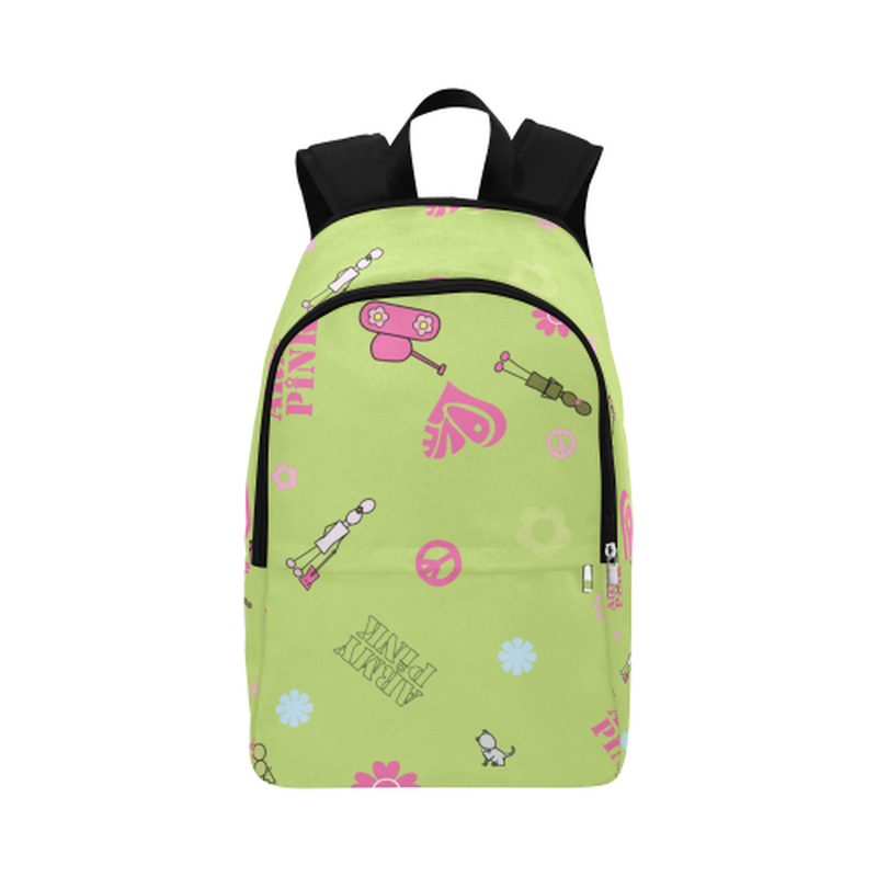 Green logo print Fabric Backpack ${product-type) ${shop-name)