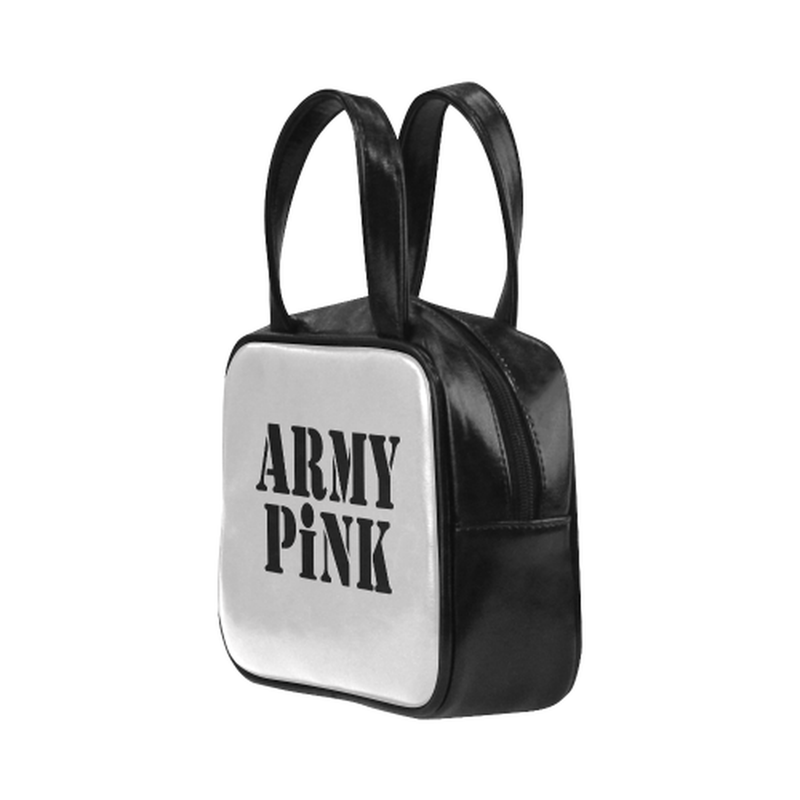 Army Pink on gray Leather Top Handle Mini Handbag for  at ARMY PINK