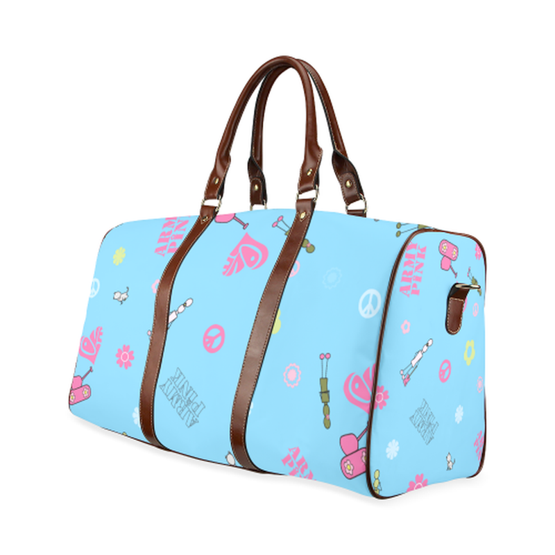 large travel bag logos on blue Waterproof Travel Bag/Large (Model 1639) for  at ARMY PINK