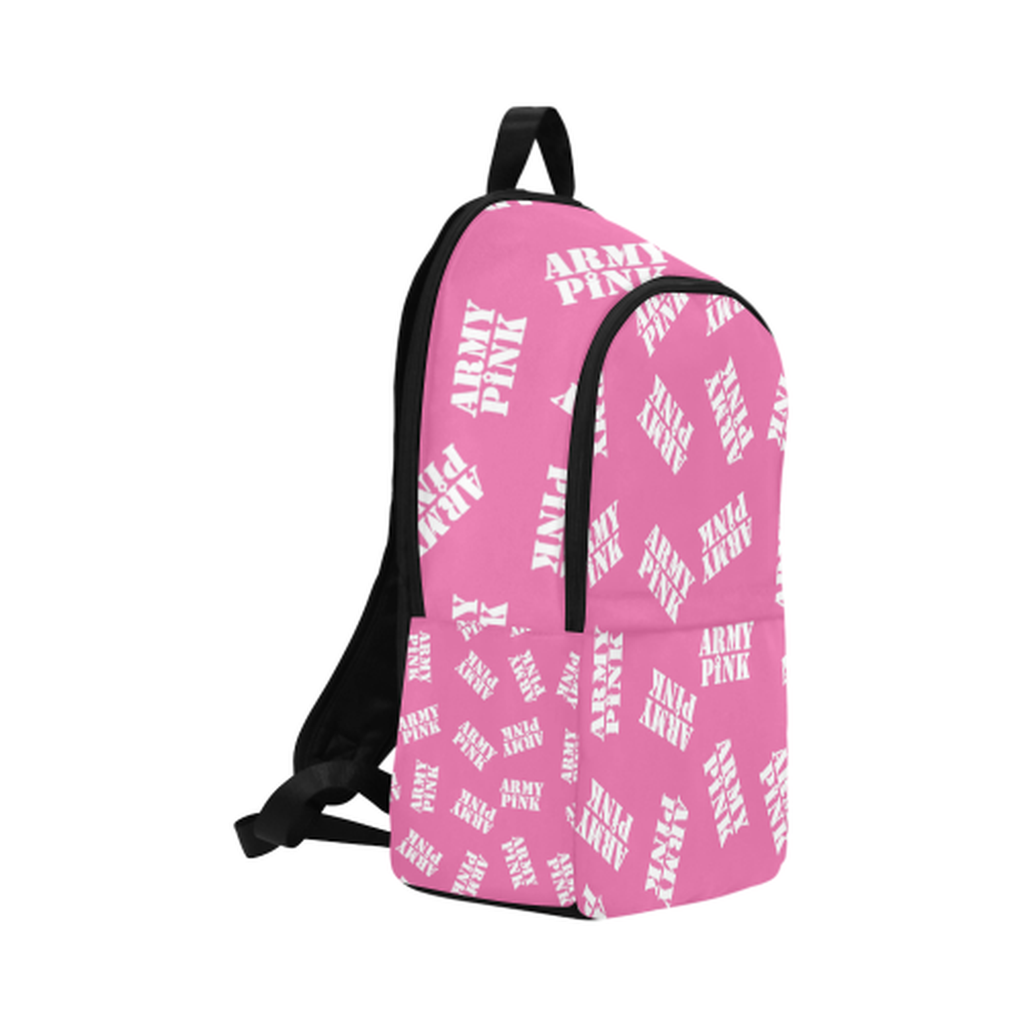 White stamps on pink Fabric Backpack for  at ARMY PINK