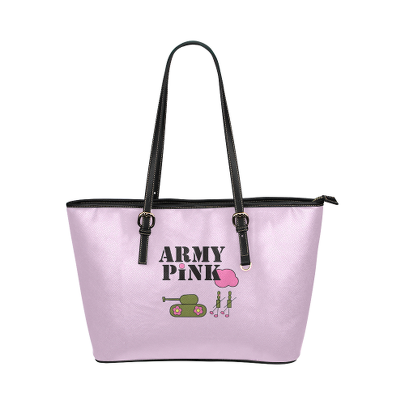 Logo on violet Leather Tote Bag/Small (Model 1651) for  at ARMY PINK