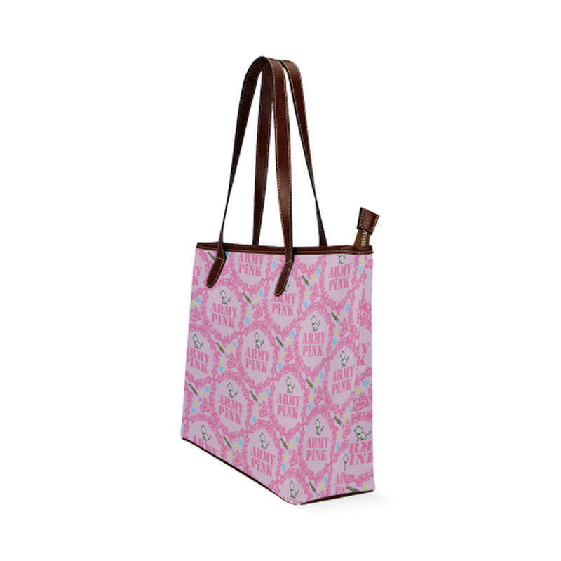 Pink wreaths on violet Shoulder Tote Bag (Model 1646) for  at ARMY PINK