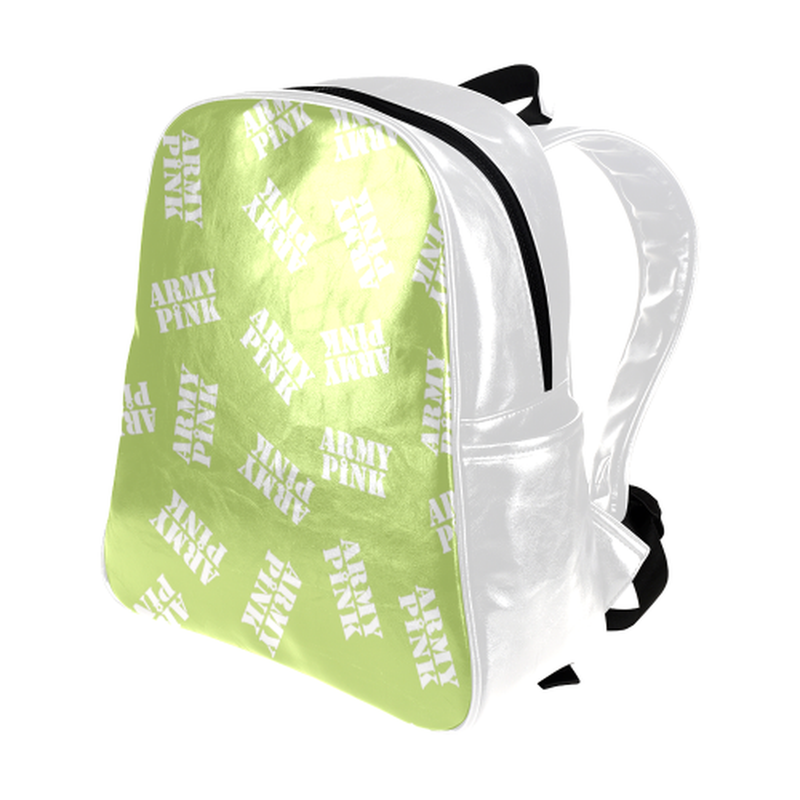 White stamps on green Multi-Pockets Backpack ${product-type) ${shop-name)