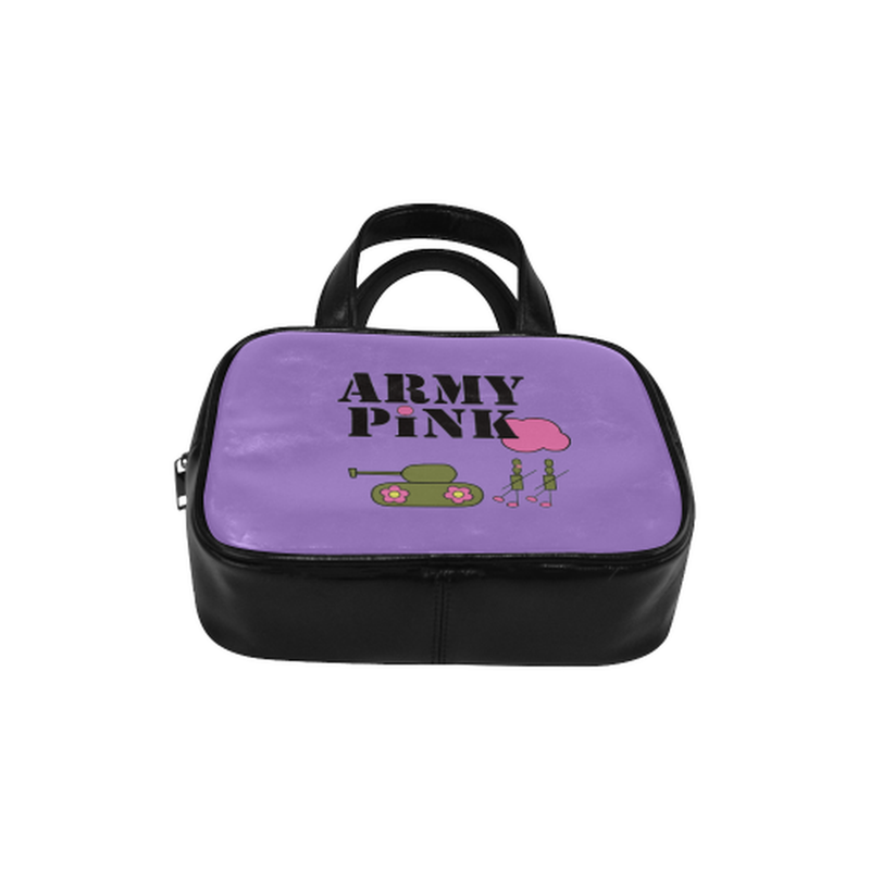 Logo on purple Leather Top Handle Handbag (Model 1662) for  at ARMY PINK