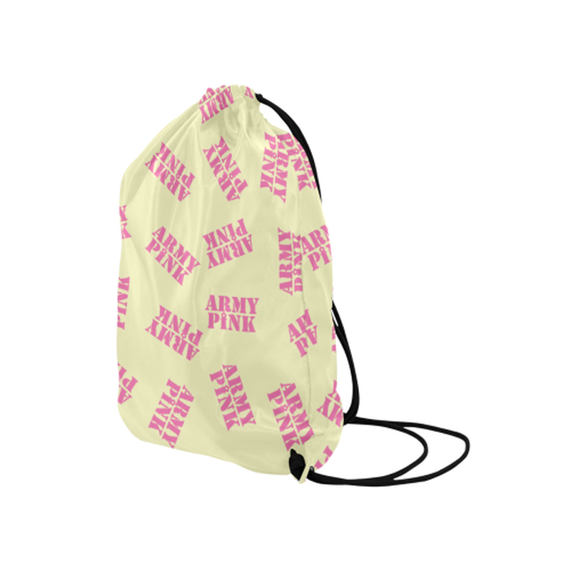 "Pink stamps on yellow Medium Drawstring Bag Model 1604 (Twin Sides) 13.8""(W) * 18.1""(H) for  at ARMY PINK"