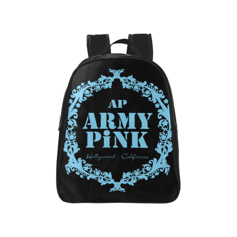 Blue wreath on black School Backpack (Model 1601)(Medium) ${product-type) ${shop-name)