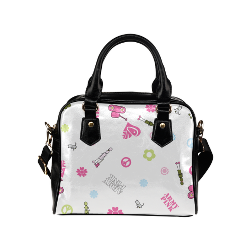 Logo print on white Shoulder Handbag (Model 1634) for  at ARMY PINK