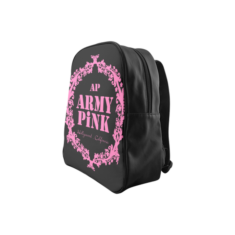 Pink wreath on black School Backpack (Model 1601)(Medium) ${product-type) ${shop-name)