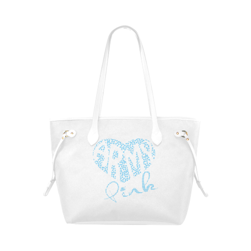 Blue dot heart on white Clover Canvas Tote Bag (Model 1661) for  at ARMY PINK