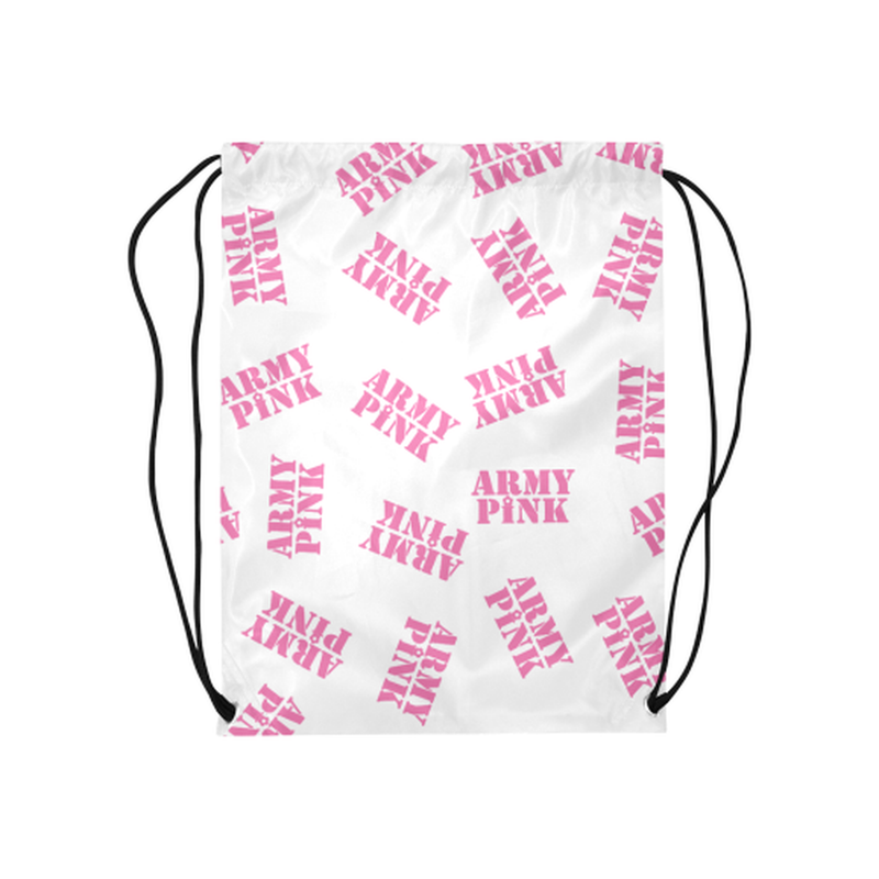 "Pink stamps on white Medium Drawstring Bag Model 1604 (Twin Sides) 13.8""(W) * 18.1""(H) for  at ARMY PINK"