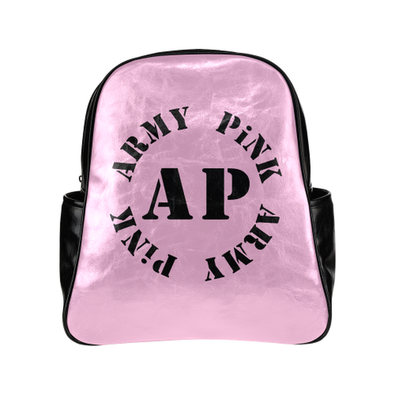 Round logo on pink Multi-Pockets Backpack for  at ARMY PINK