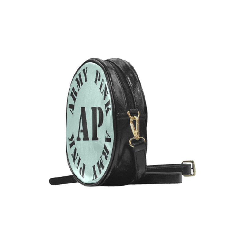 AP Logo On Mint Round Sling Bag for  at ARMY PINK
