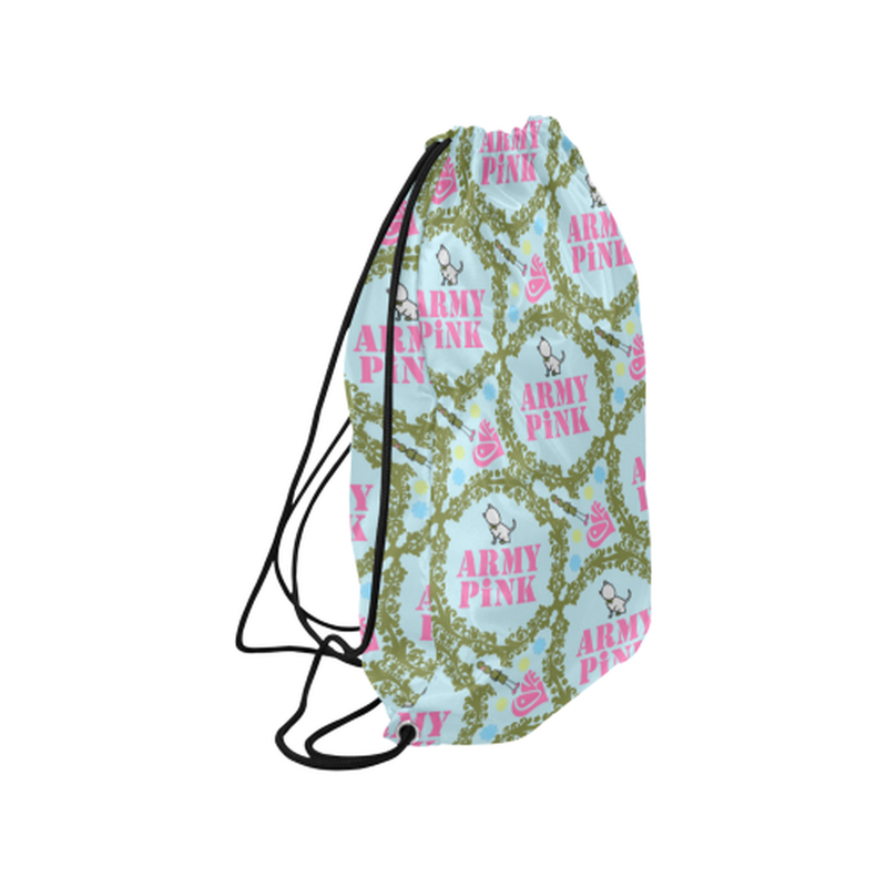 "Green wreaths on mint Medium Drawstring Bag Model 1604 (Twin Sides) 13.8""(W) * 18.1""(H) for  at ARMY PINK"