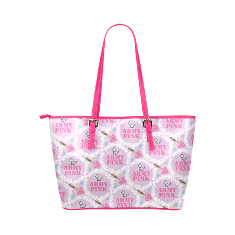 Pink white wreath leather Tote Bag for  at ARMY PINK