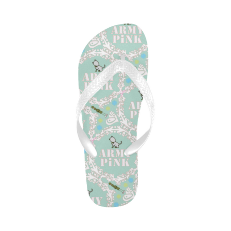 White wreath mint Flip Flops for 16.00 at ARMY PINK