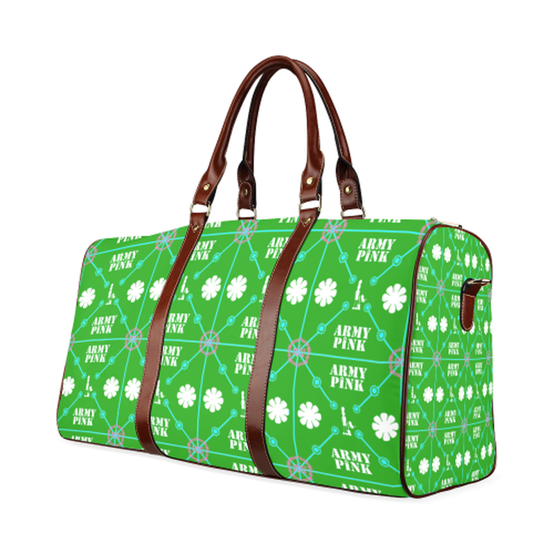 small travel bag diamond aop on green Waterproof Travel Bag/Small (Model 1639) for  at ARMY PINK