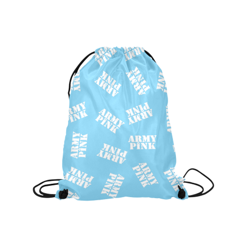 "White stamps on blue Medium Drawstring Bag Model 1604 (Twin Sides) 13.8""(W) * 18.1""(H) for  at ARMY PINK"