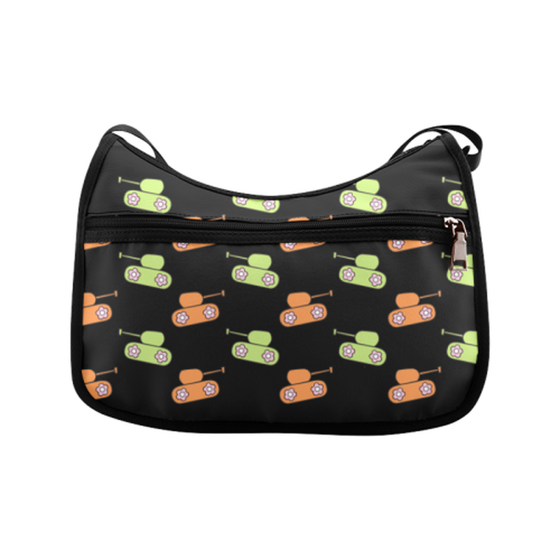 Orange and green tanks on black Crossbody Bags (Model 1616) for  at ARMY PINK
