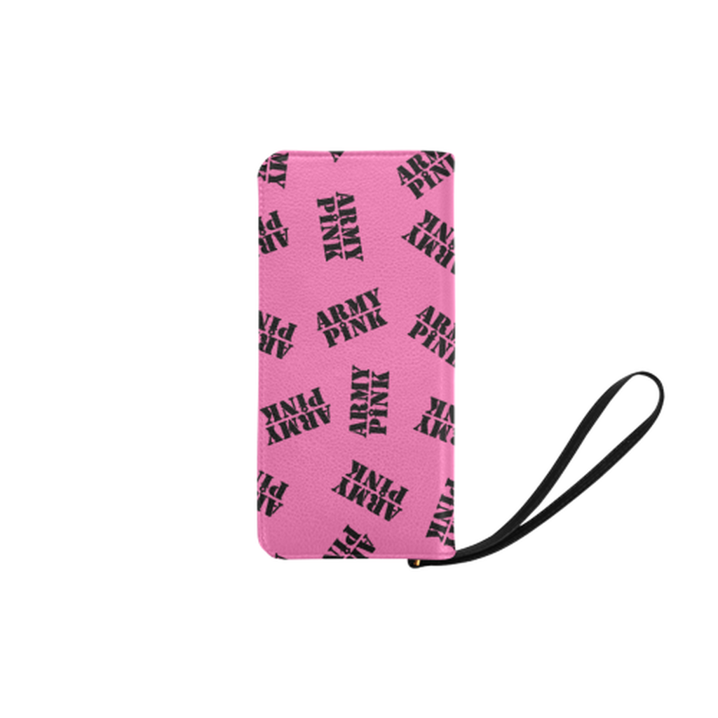 Black stamps pink Clutch Purse for  at ARMY PINK