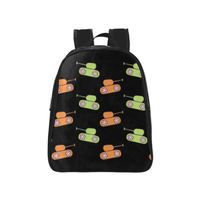 Orange and green tank pattern on black School Backpack (Model 1601)(Medium) for  at ARMY PINK