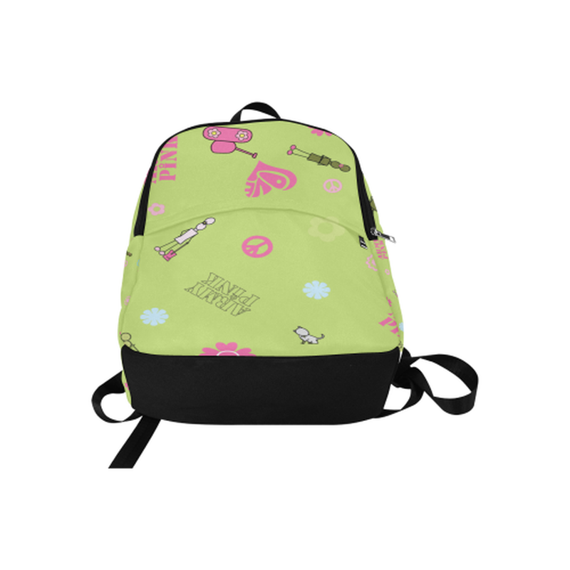 Green logo print Fabric Backpack for  at ARMY PINK