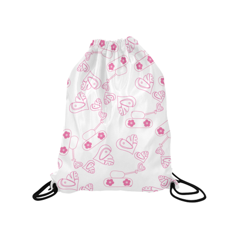 "Pink love tanks on white Medium Drawstring Bag Model 1604 (Twin Sides) 13.8""(W) * 18.1""(H) for  at ARMY PINK"