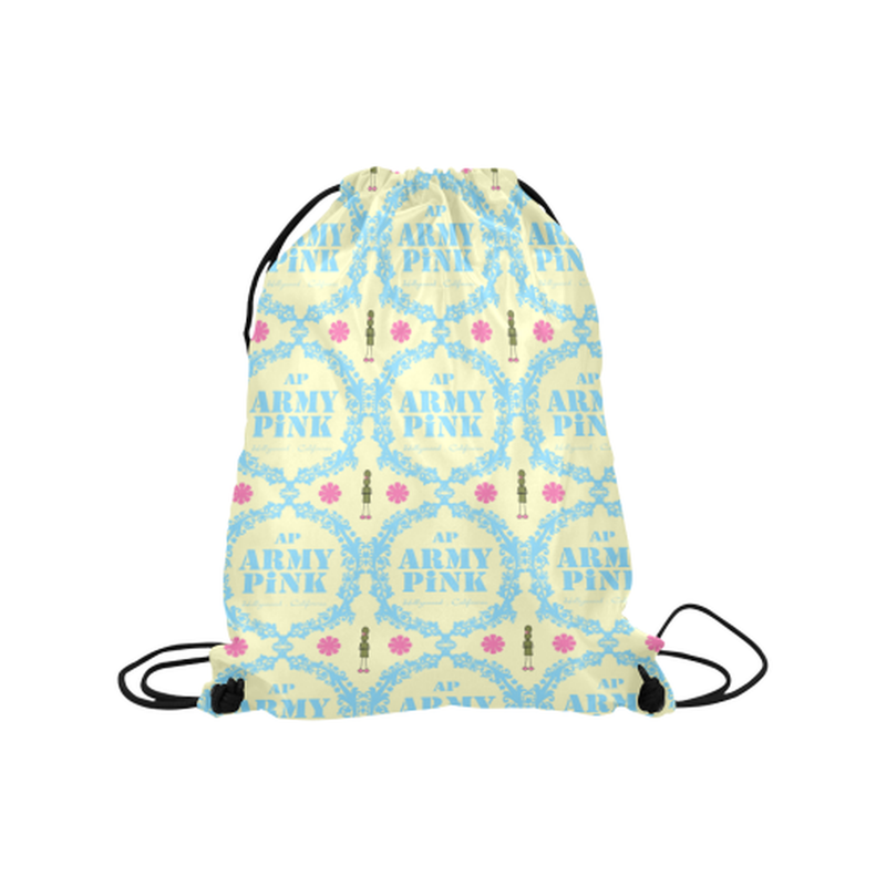 "Blue wreath on yellow Medium Drawstring Bag Model 1604 (Twin Sides) 13.8""(W) * 18.1""(H) for  at ARMY PINK"