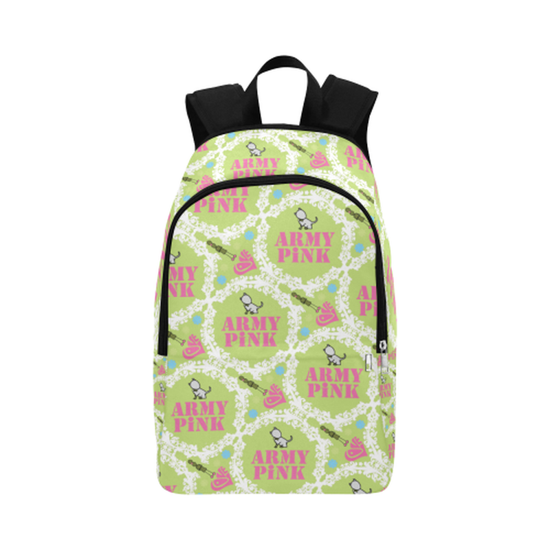 backpack white wreath on green Fabric Backpack for Adult (Model 1659) for  at ARMY PINK