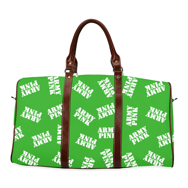 large travel bag in green with white army pink stamp Waterproof Travel Bag/Large (Model 1639) for  at ARMY PINK