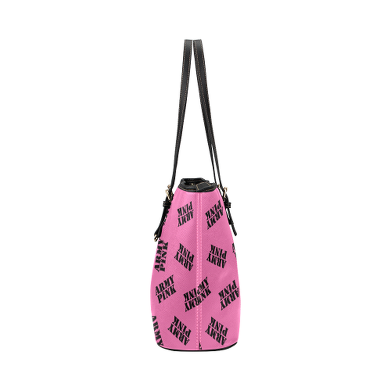 Pink black stamp leather Tote Bag for  at ARMY PINK