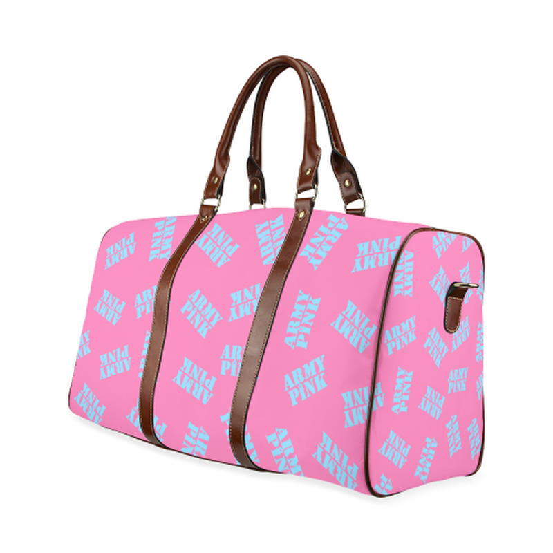 small travel bag blue stamps on pink Waterproof Travel Bag/Small (Model 1639) for  at ARMY PINK