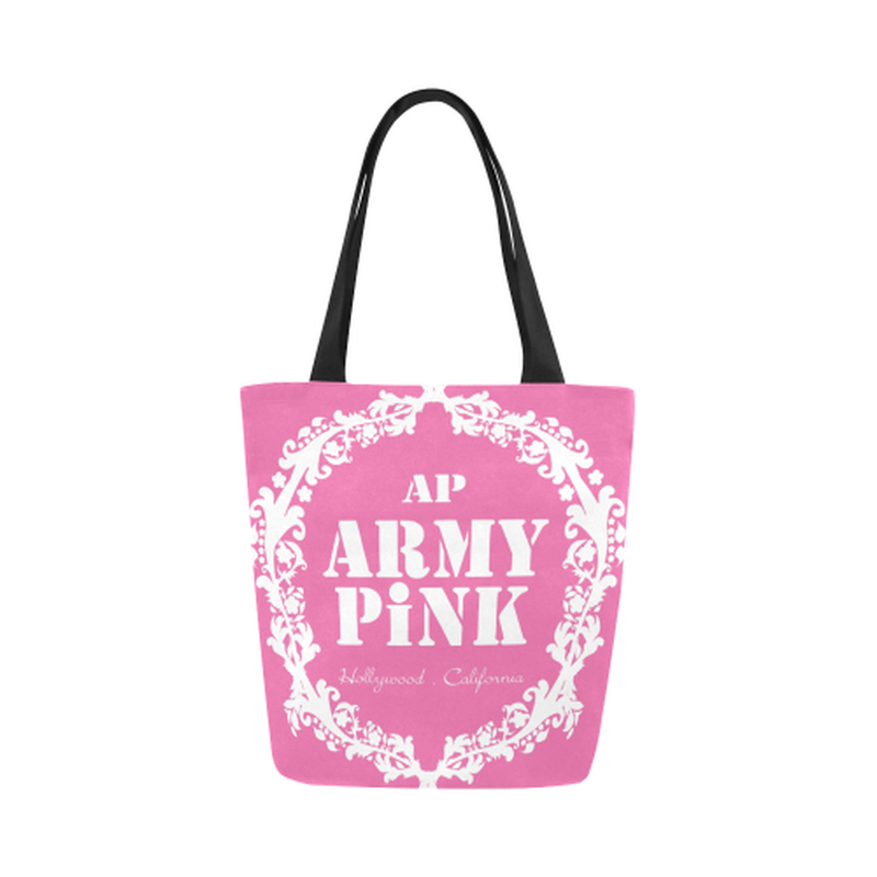 Pink white wreath Canvas Tote Bag for  at ARMY PINK