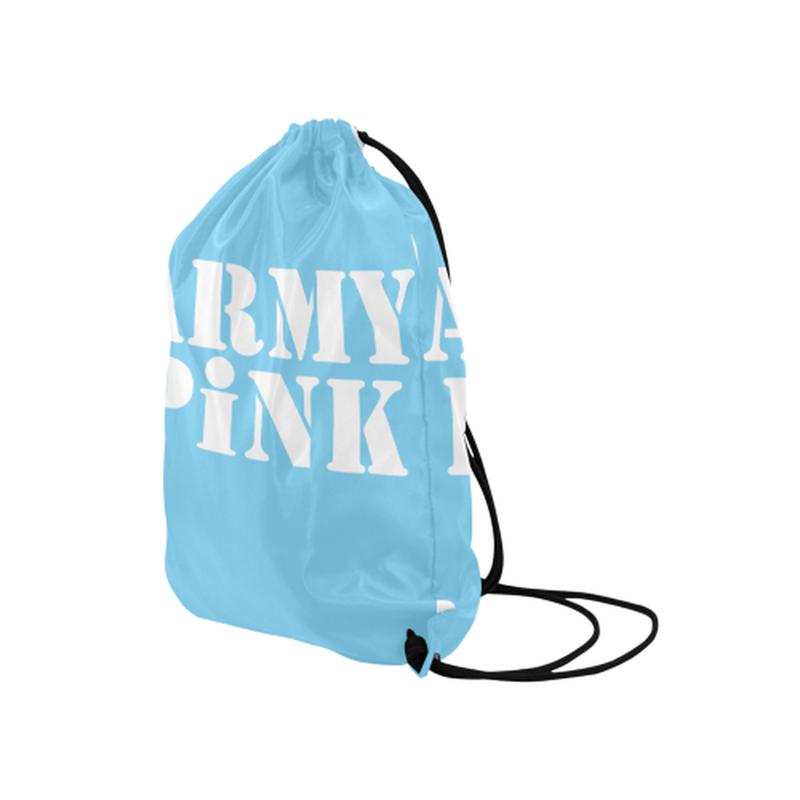 Army Pink in White on Blue Drawstring Bag for  at ARMY PINK
