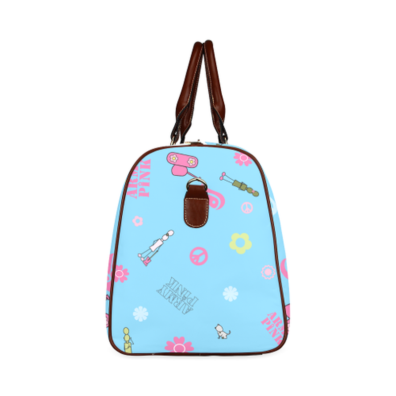 small travel bag logos on blue Waterproof Travel Bag/Small (Model 1639) for  at ARMY PINK