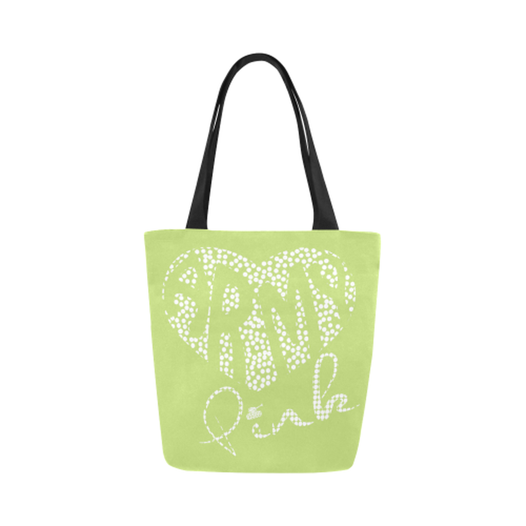 Green dot heart Canvas Tote Bag ${product-type) ${shop-name)