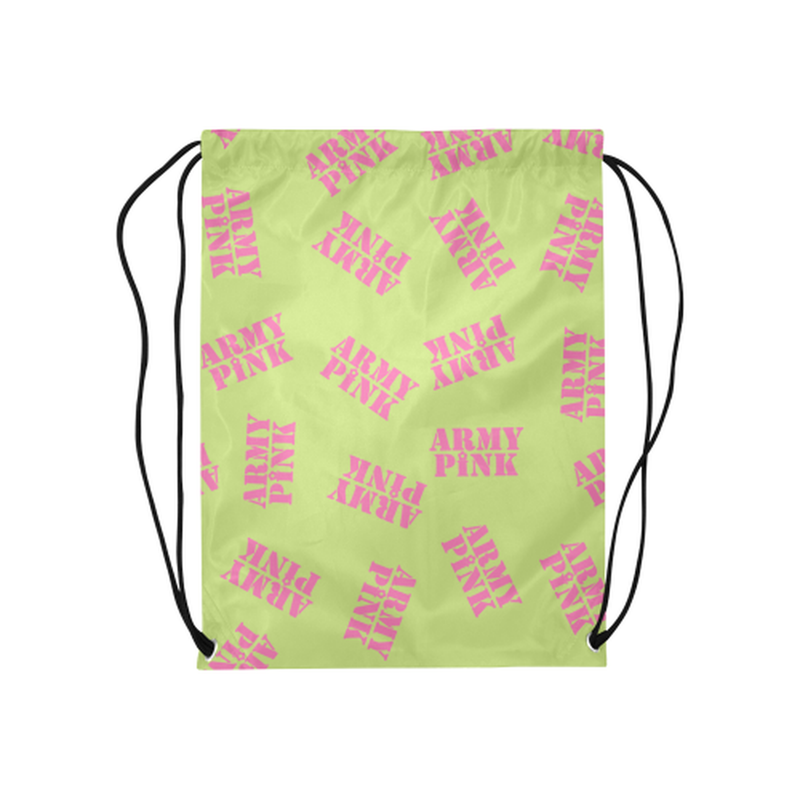 "Pink stamps on green Medium Drawstring Bag Model 1604 (Twin Sides) 13.8""(W) * 18.1""(H) for  at ARMY PINK"