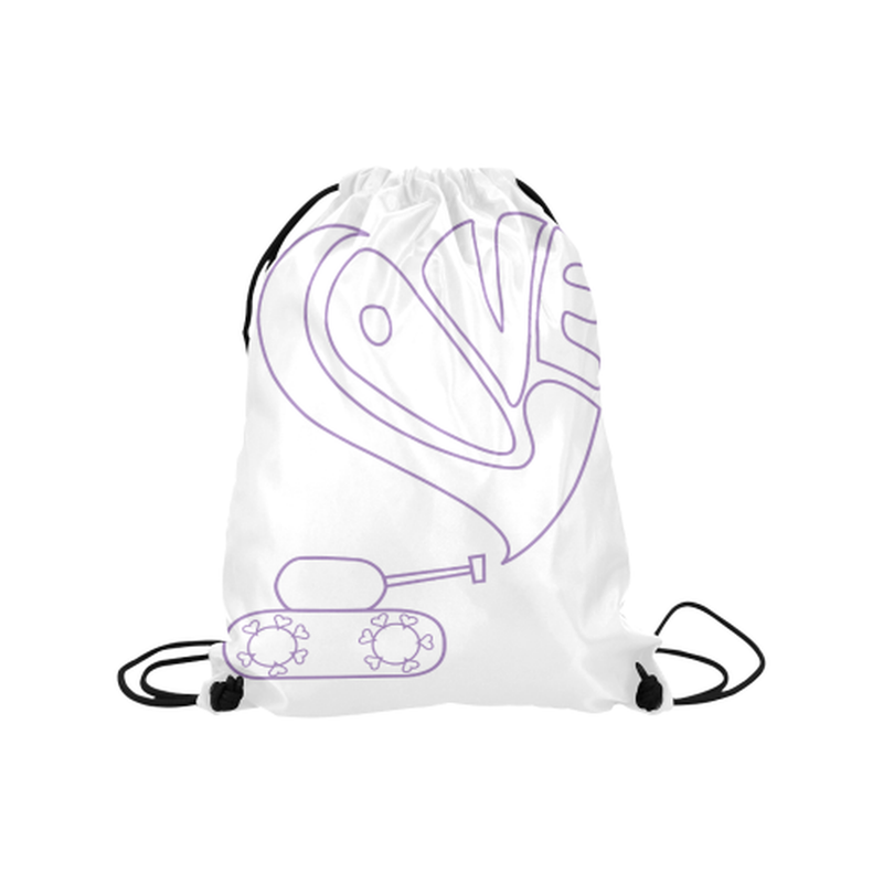 "Purple love tank on white Medium Drawstring Bag Model 1604 (Twin Sides) 13.8""(W) * 18.1""(H) for  at ARMY PINK"
