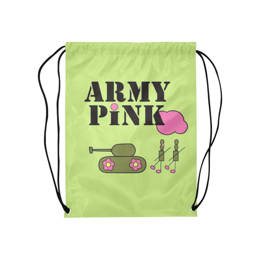 Green logo Drawstring Bag for  at ARMY PINK