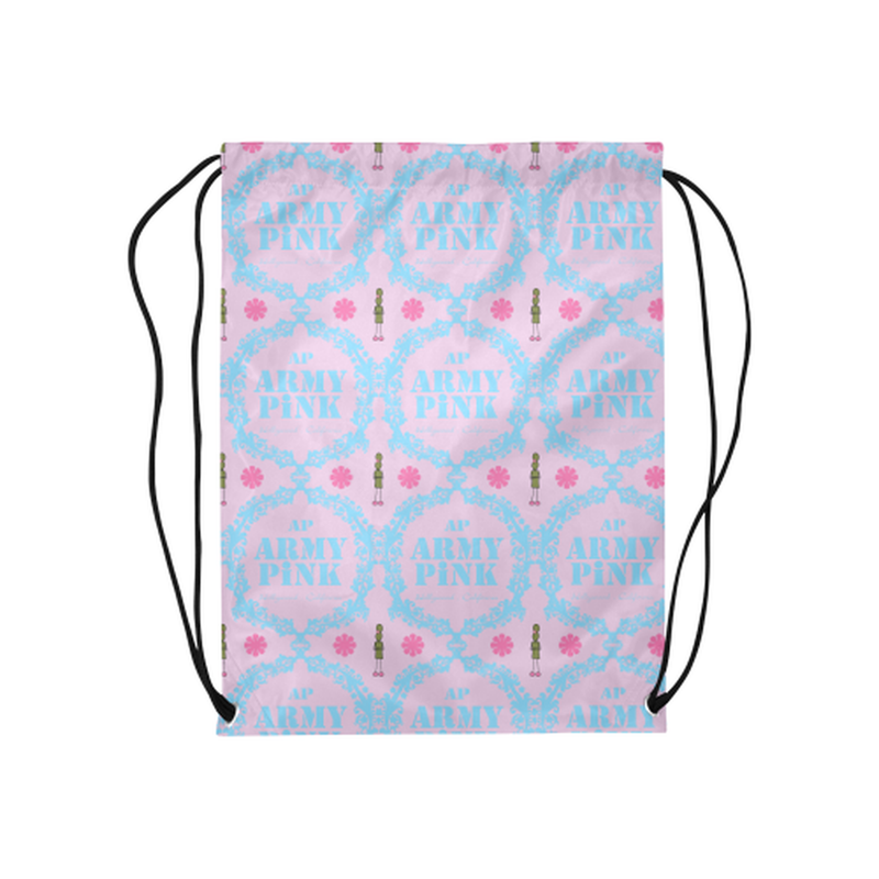"Blue wreaths on violet Medium Drawstring Bag Model 1604 (Twin Sides) 13.8""(W) * 18.1""(H) for  at ARMY PINK"