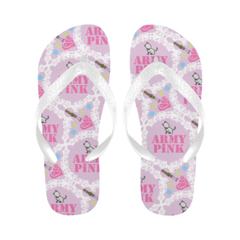 White wreath pink Flip Flops for 16.00 at ARMY PINK