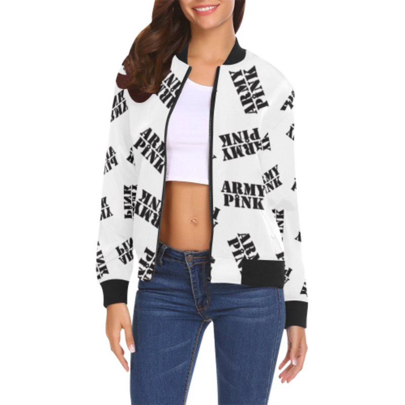 Black stamp white Bomber Jacket for 55.00 at ARMY PINK