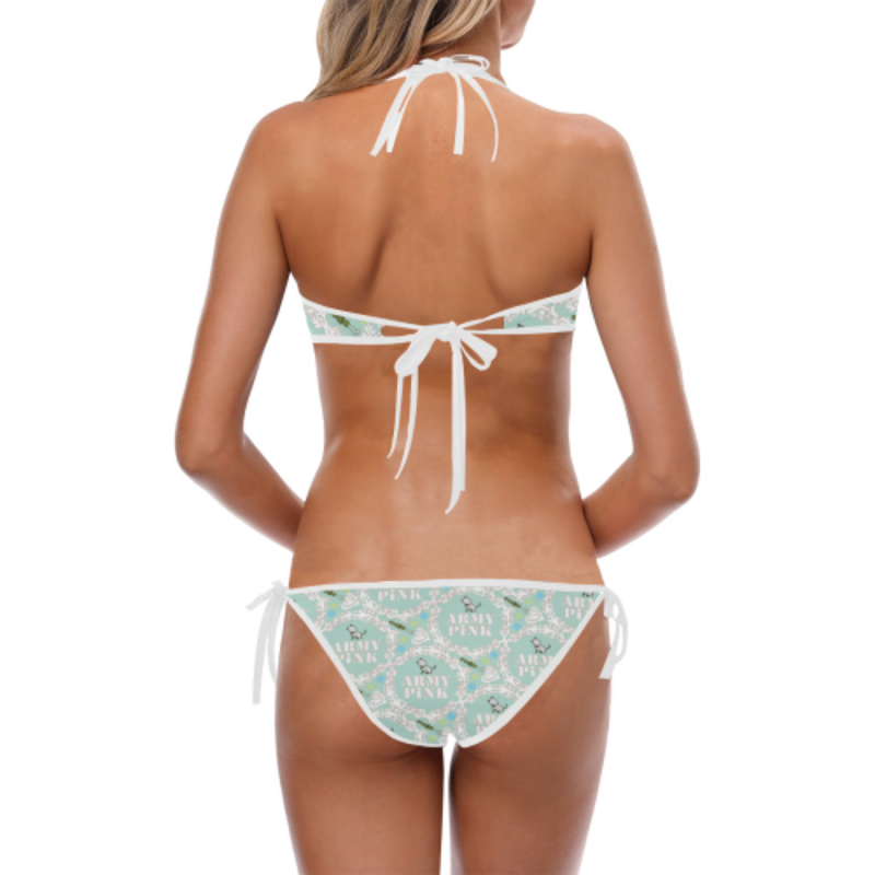 White wreath mint Halter & Side Tie Bikini Swimsuit for 32.00 at ARMY PINK