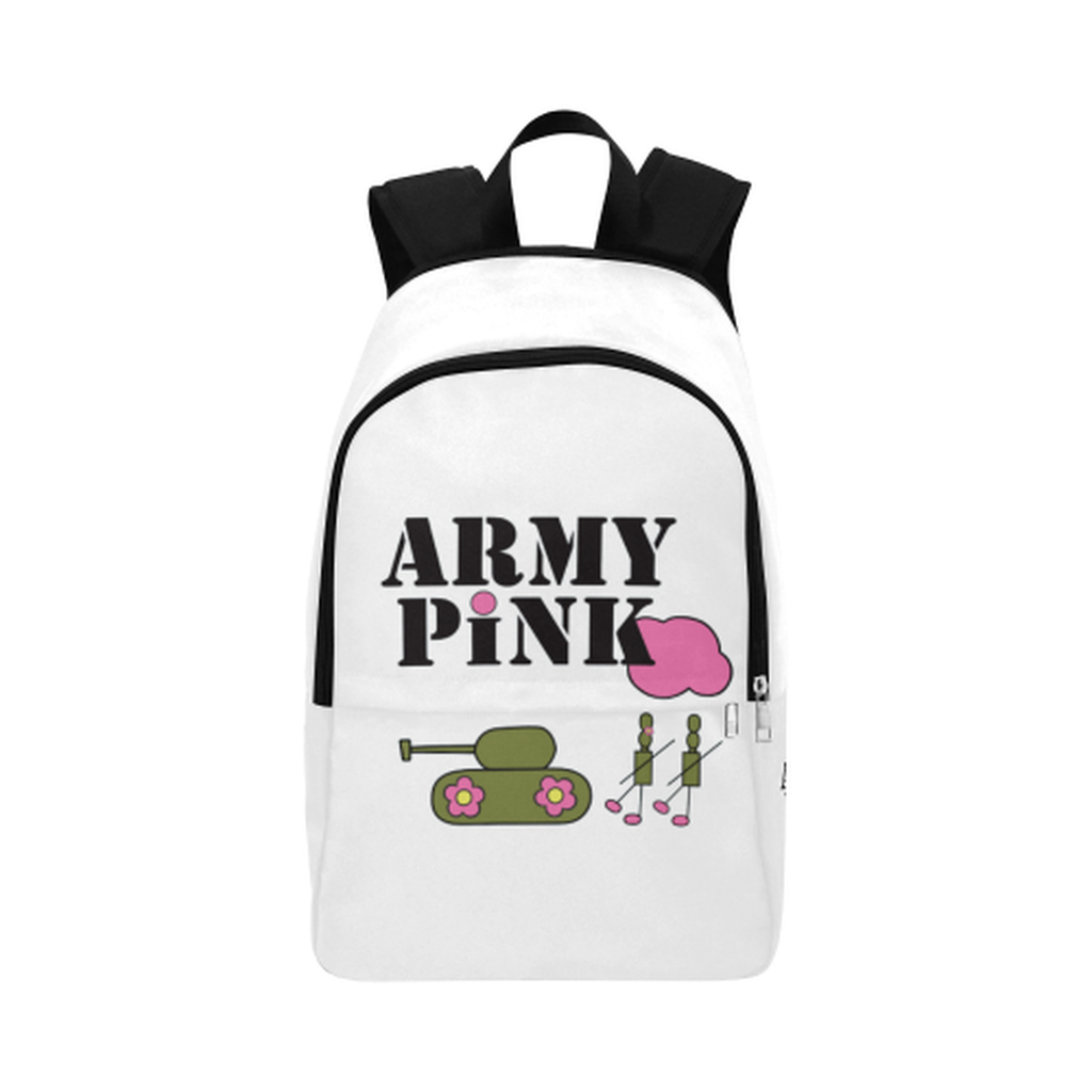 White logo Fabric Backpack for  at ARMY PINK